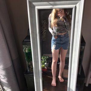 Zara distressed jean skirt